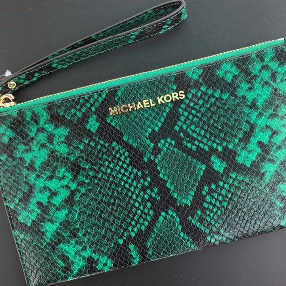MICHAEL Michael Kors Handbags - Michael Kors Jungle Green Wristlet Clutch
